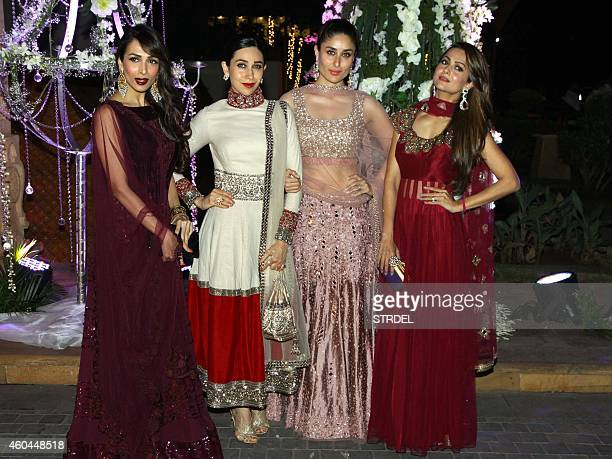 Indian Bollywood actresses Malaika Arora Khan Karishma Kapoor Kareena Kapoor Khan and Amrita Arora attend the marriage Sangeet ceremony of Bollywood...