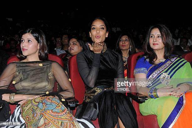 Indian Bollywood actresses Mannara Chopra Lisa Hayden and Poonam Dhillon attend the 21st Lion's Gold Awards ceremony in Mumbai on January 6 2015 AFP...