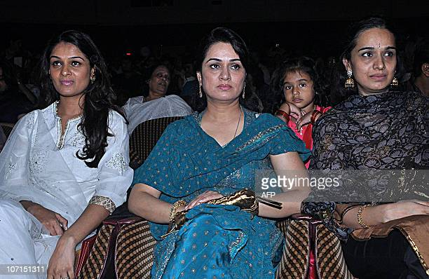 Indian Bollywood actresses Padmini Kolhapure and sisters Tejaswini Kolhapure and Shivangi Kolhapure attend the Divine Felicitations ceremony in...