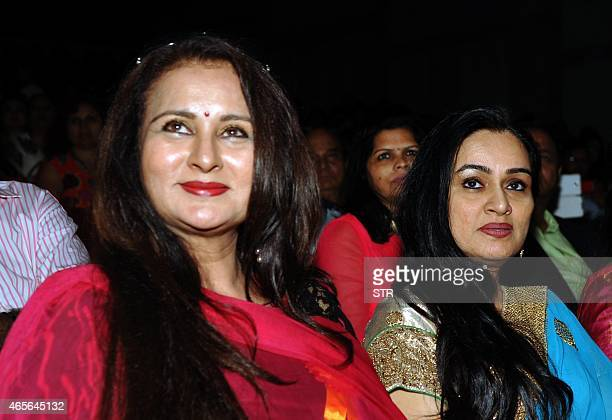 Indian Bollywood actresses Poonam Dhillon and Padmini Kolhapure attend an International Women's Day event organized by NGO Swayamdeep BRD Films in...