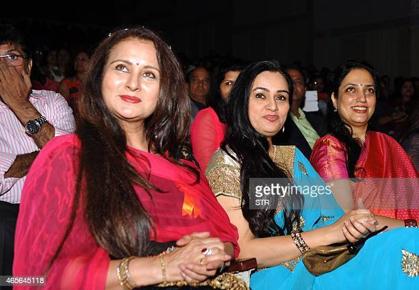Indian Bollywood actresses Poonam Dhillon Padmini Kolhapure and politician Rashmi Uddhav Thackrey attend an International Women's Day event organized...