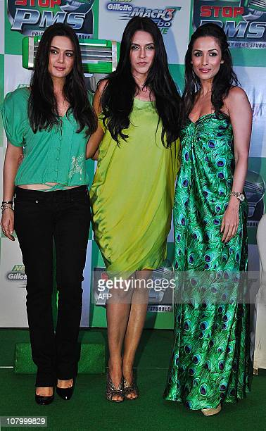 "Indian Bollywood actresses Preity Zinta , Neha Dhupia and Malaika Arora Khan attend the Gillette Mach3 Turbo Sensitive ""Stop PMS"" campaign in Mumbai..."