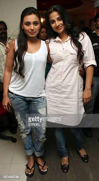 "Indian Bollywood actresses Vidya Balan and Rani Mukherjee arrive to promote the Hindi film ""No One Killed Jessica"" at a radio station im Mumbai on..."