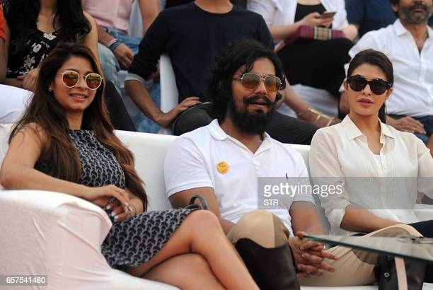 Indian Bollywood actresss Tanisha Mukerji poses with actor Randeep Hooda and Sri Lankan actress Jacqueline Fernandez during a polo tournament hosted...