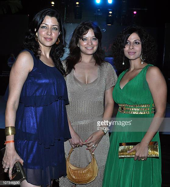 Indian Bollywood and television actress and model Aditi Govitrikar Arzoo Govitrikar and Tanaz Currim attend the 'Tango Dance' performance in Mumbai...