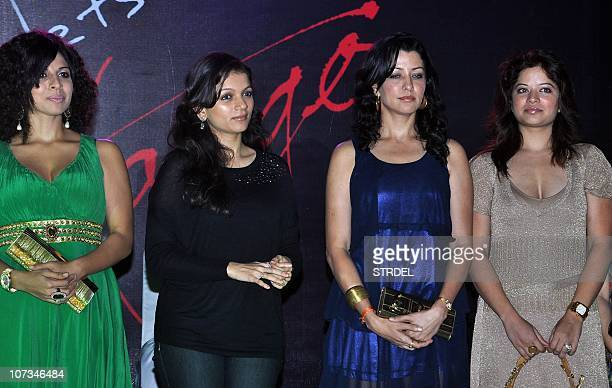 Indian Bollywood and television actress Tanaaz Currim Prachi Shah Indian model Aditi Govitrikar with her sister Arzoo Govitrikar attend the 'Tango...