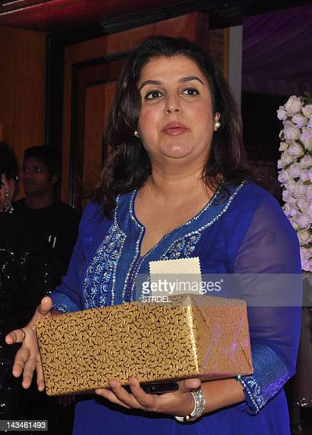 Indian Bollywood choreographer Farah Khan attends the wedding reception of playback singer Sunidhi Chauhan and musician Hitesh Sonik during in Mumbai...
