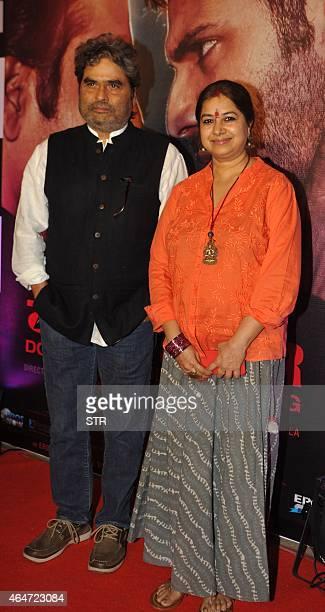 Indian Bollywood director Vishal Bhardwaj and his wife singer Rekha Bhardwaj attend the Success Party of Hindi film 'Badlapur' directed by Sriram...