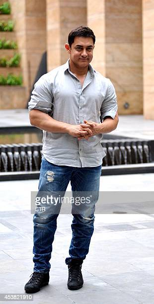 Indian Bollywood film actor Aamir Khan poses during the launch of 'Young Inspirators Network' in Mumbai on August 19 2014 AFP PHOTO