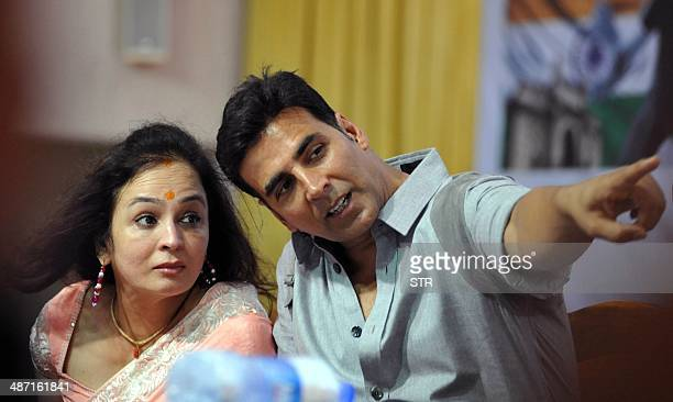 Indian Bollywood film actor Akshay Kumar attends the launch of film producer Smita Thackerays NGO Mukti Foundation's Tolpar Knife Training and...