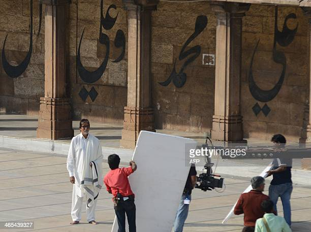 Indian Bollywood film actor Amitabh Bachchan acts at the ancient Jama Masjid in Ahmedabad on Janaury 27 2014 Bachchan came to shoot for Gujarat...