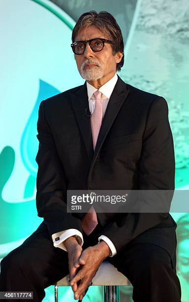 Indian Bollywood film actor Amitabh Bachchan poses during the launch of Dettol's 'Banega Swachh India' nationwide initiative a five year programme...