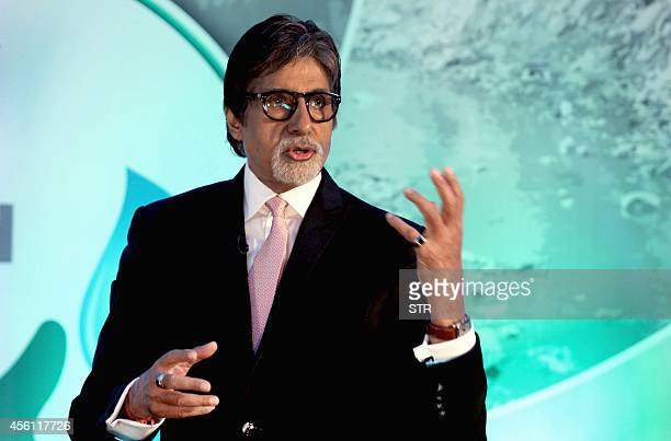 Indian Bollywood film actor Amitabh Bachchan speaks during the launch of Dettol's 'Banega Swachh India' nationwide initiative a five year programme...