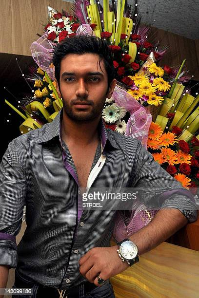 Indian Bollywood film actor Chirag Paswan poses during the birthday celebration of Indian Bollywood film actress Poonam Dhillon in Mumbai on April 18...