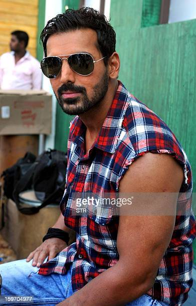 Indian Bollywood film actor John Abraham poses on location during the shooting of the upcoming Hindi film 'I Me Aur Main' song directed by debutant...
