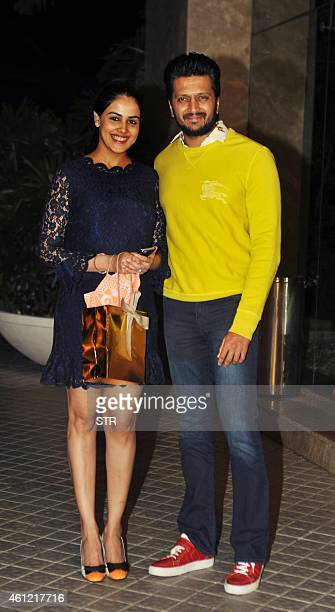 Indian Bollywood film actor Riteish Deshmukh and his wife Genelia D'Souza attend the 50th birthday party of Bollywood film director choreographer...