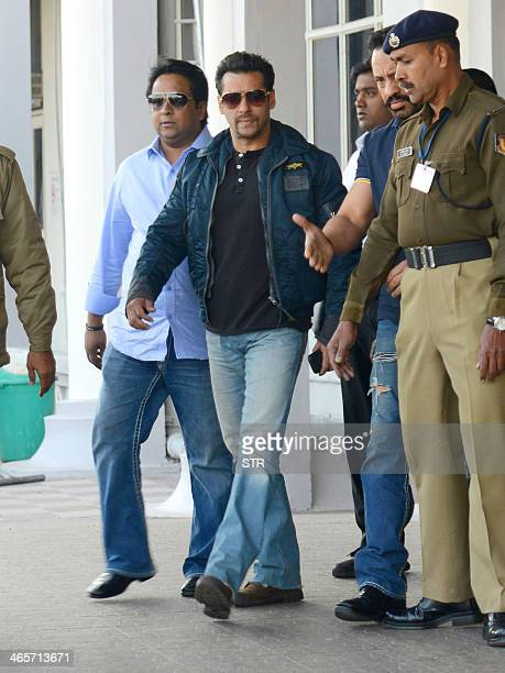 Indian Bollywood film actor Salman Khan arrives for a court appearance in the 1998 Blackbuck poaching case in Jodhpur on January 29 2014 In December...