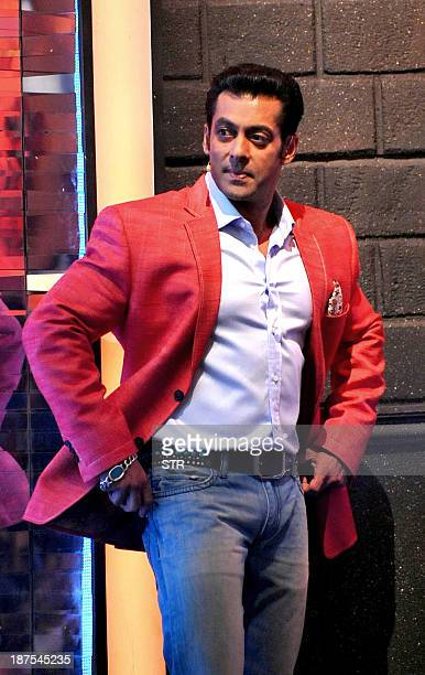 Indian Bollywood film actor Salman Khan hosts the 'Bigg Boss 7' TV Reality Show on Colors television in Lonavala about 96 kms from Mumbai on November...
