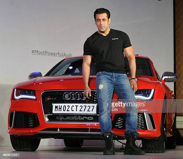Indian Bollywood film actor Salman Khan poses during the launch of the Audi RS 7 Sportback in Mumbai on January 6 2014 AFP PHOTO