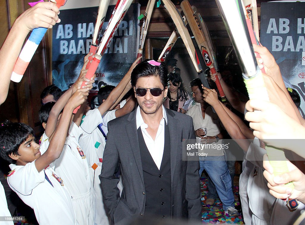 Indian Bollywood film actor Shah Rukh Khan during the launch of the first Toyota University Cricket Championship (TUCC) in Mumbai on January 17, 2013.