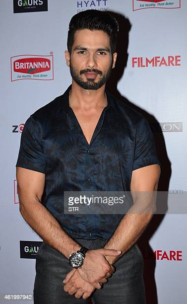 Indian Bollywood film actor Shahid Kapoor poses at the 60th Britannia 'Filmfare Awards 2014' PreAwards Party in Mumbai on January 22 2015 AFP PHOTO