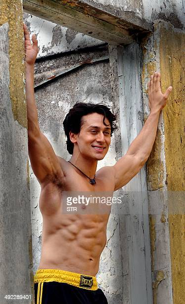 Indian Bollywood film actor Tiger Shroff poses during promotion of his Hindi film 'Heropanti' in Mumbai on May 19 2014 AFP PHOTO