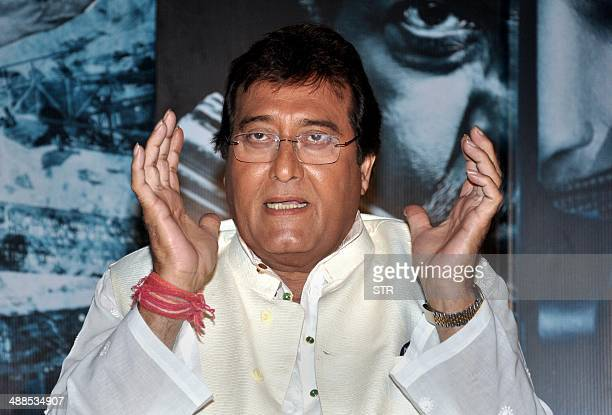 Indian Bollywood film actor Vinod Khanna poses during the promotion and press conference of the upcoming Hindi film 'Koyelaanchal' produced and...