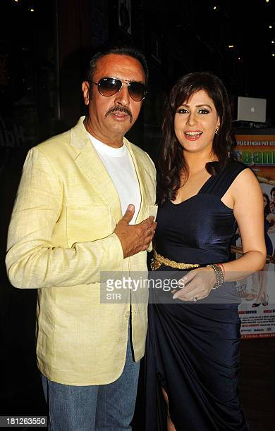 Indian Bollywood film actors Amrita Raichand and Gulshan Grover pose during the music launch ceremony for their upcoming Hindi film 'Baat Bann Gayi'...