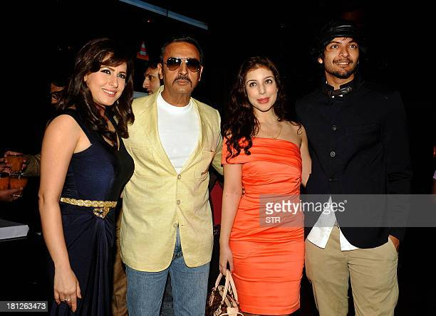 Indian Bollywood film actors Amrita Raichand Gulshan Grover Anisa Butt and Ali Fazal pose during the music launch ceremony for their upcoming Hindi...