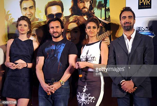 Indian Bollywood film actors Kalki Koechlin Saif Ali Khan Ileana D'Cruz and Ranvir Shorey pose during the trailer launch of upcoming Hindi romance...