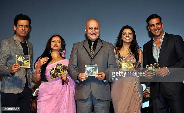 Indian Bollywood film actors Manoj Bajpayee Divya Dutta Anupam Kher Kajal Aggarwal and Akshay Kumar pose during the music launch of the upcoming film...