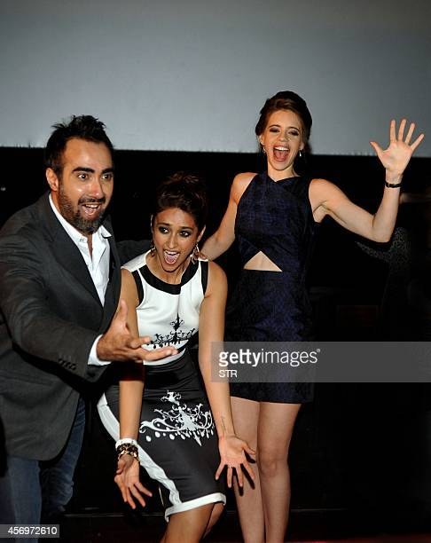 Indian Bollywood film actors Ranvir Shorey Ileana D'Cruz and Kalki Koechli pose during the trailer launch of upcoming Hindi romance comedy film...