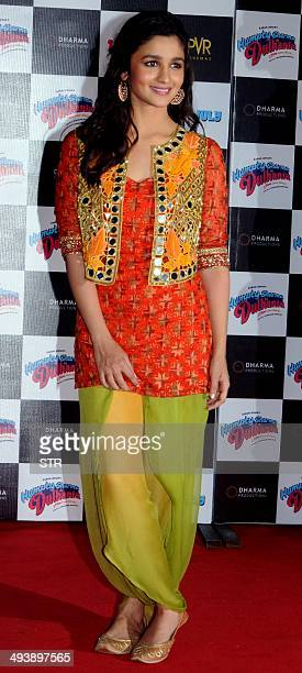 Indian Bollywood film actress Alia Bhatt poses during the trailer launch of the forthcoming Hindi film 'Humpty Sharma Ki Dulhania' directed by...