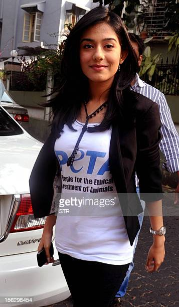 Indian Bollywood film actress Amrita Rao arrives at the launch of the new VeganFriendly PETA initiative for restaurants in Mumbai on November 12 2012...
