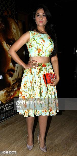 Indian Bollywood film actress Anjana Sukhani attends the premiere of the film 'Bhopal A Prayer for Rain' directed by Ravi Kumar in Mumbai on December...