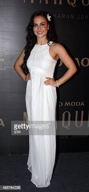 Indian Bollywood film actress Elli Avram attends the launch of Vero Moda's Marquee collection designed by Indian filmmaker Karan Johar in Mumbai on...