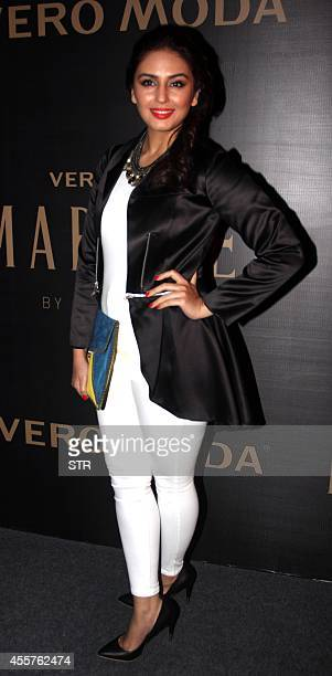 Indian Bollywood film actress Huma Qureshi attends the launch of Vero Moda's Marquee collection designed by Indian filmmaker Karan Johar in Mumbai on...