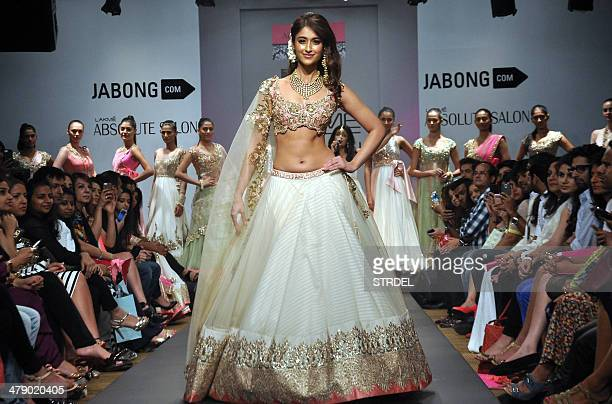 Indian Bollywood film actress Ileana D'Cruz showcases a creation by designer Anushree Reddy on the fifth day of the Lakme Fashion Week summer/resort...