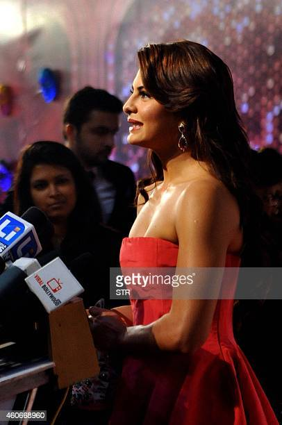 Indian Bollywood film actress Jacqueline Fernandez attends the 'BIG Star Entertainment Awards' ceremony in Mumbai on December 18 2014 AFP PHOTO
