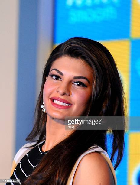 Indian Bollywood film actress Jacqueline Fernandez poses during the launch of Scholl's latest innovation in foot care in Mumbai on January 22 2015...