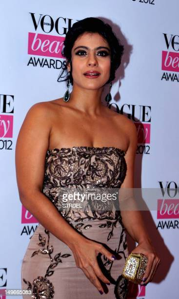 Indian Bollywood film actress Kajol Devgan poses during the 'Vogue Beauty Awards 2012' in Mumbai on August 1 2012 AFP PHOTO