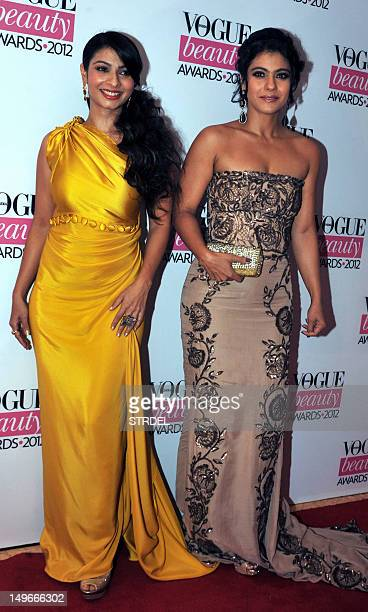 Indian Bollywood film actress Kajol Devgan poses with sister Tanisha Mukherjee during the 'Vogue Beauty Awards 2012' in Mumbai on August 1 2012 AFP...