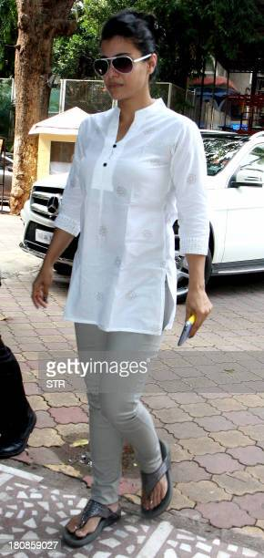 Indian Bollywood film actress Kajol Devgn attends a prayer meet for Bollywood film actress Madhuri Dixit's father Shankar Dixit in Mumbai on...