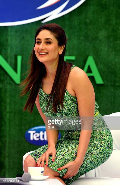 Indian Bollywood film actress Kareena Kapoor as new Tetley Green Tea Brand Ambassador poses during the 'Tetley Green Tea' relaunch campaign in Mumbai...