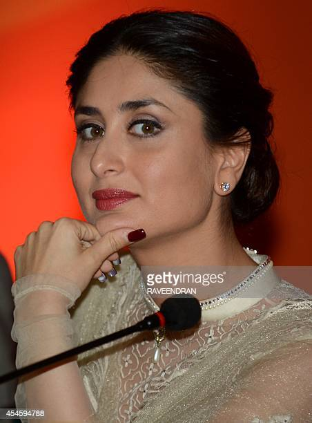 Indian Bollywood film actress Kareena Kapoor looks on during the launch of ChildFriendly School and Systems in New Delhi on September 4 2014 UNICEF...