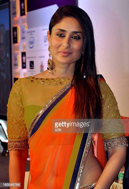 Indian Bollywood film actress Kareena Kapoor poses during the 'Ficci Frames 2013' annual conclave of the media and entertainment industry in Mumbai...