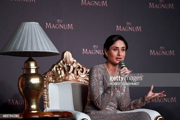 Indian Bollywood film actress Kareena Kapoor speaks during an event where she launched an ice cream bar at a high end hotel in New Delhi on February...