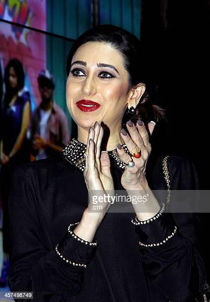 Indian Bollywood film actress Karisma Kapoor attends the music launch of upcoming Hindi film 'Karle Pyaar Karle' directed by Rajesh Pandey in Mumbai...