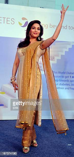Indian Bollywood film actress Madhuri Dixit Nene as brand ambassador performs Indias first signature diabetes dance step for 'What Step Will You Take...