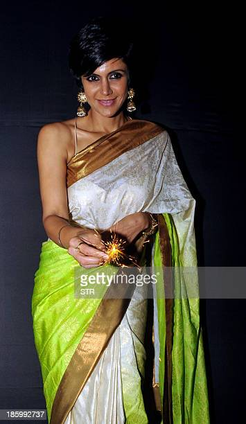 Indian Bollywood film actress model and television anchor Mandira Bedi celebrates Diwali with the opening of her new designer store in Mumbai on...